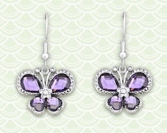 Purple Butterfly Earrings - 47113