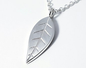 Sterling Silver Leaf Pendant - Sterling Silver Leaf Necklace, Sterling Leaf Necklace, Nature Necklace, Nature Pendant, Tree Necklace
