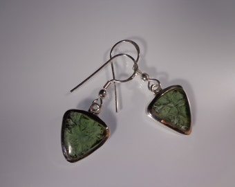 Moldavite SALE!!!  * 10% OFF *  Tektite Sterling Silver Earrings - Moldavite Drop Earrings - Gemstone Earrings - ET Jewelry - Yoga Earrings