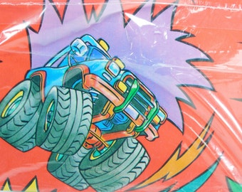 1 Sheet Vintage Monster Truck Wrapping Paper, Truck Racing Wrapping Paper, American Greetings Gift Wrap, Children's Wrapping Paper