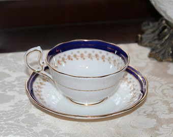Vintage Royal Albert Bone Chine Tea Cup, Made in England Royal Blue and Gold Teacup