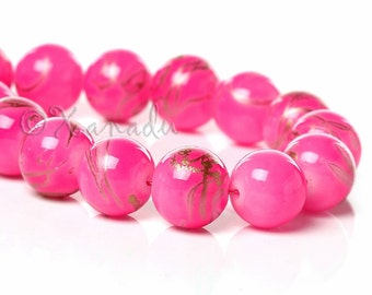 Pink Gold 10mm Round Glass Beads - 50/100/200 Wholesale Strands For Jewelry Making G6679