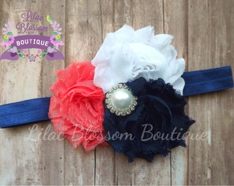 Navy/White/Coral Baby Headband, Pearl Newborn Headband, Shabby Bow for Girls, Navy Coral Outfit Girl, Coral Navy Baby Bow, Baby Shower Gift