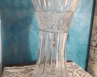 Old Bohemian crystal vase-anniversary gifts-cut Crystal-vintage vase-
