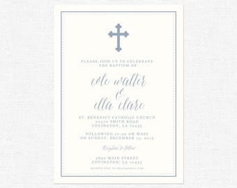 Simple Blue and off white cross baptism and dot invitations-FREE SHIPPING or DIY printable