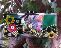 Sale 60 off - Tropical green clutch, parrot bag, embelished clutch with handmade flowers and beads, tropical clutch bag, macaw handbag