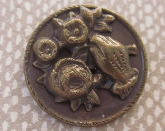 Small Metal Picture Button  Gloved Hand and Flowers.  Back Marked.  OneWomanRepurposed B 24