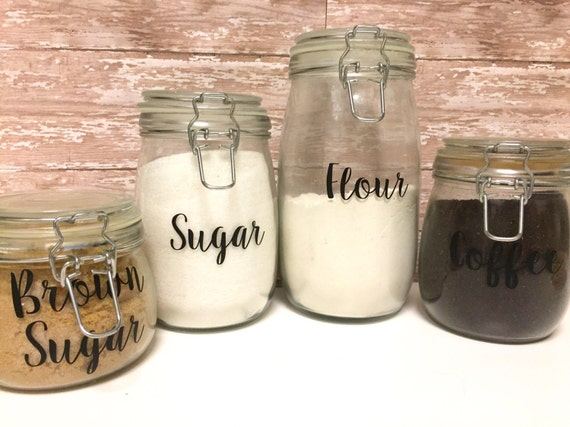 kitchen canisters kitchen canister by freespiritsatx on etsy food canister labels kitchen pantry labels hand lettered