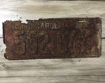 Vintage North Carolina License Plate 1930 | Brown Rusty | Man Cave Decor | Old Collectible | For Him | Garage