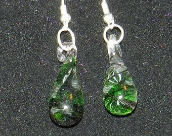 CIJ SALE Murano style Green Glass Drop Earrings V5