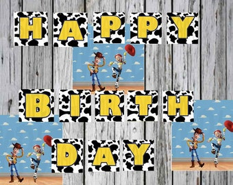 Toy Story Birthday Banner Printable Yellow, Black and White
