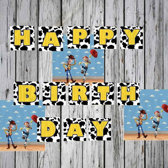 Toy Story Birthday Banner Printable Yellow Black And