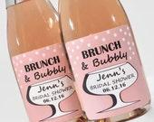 Brunch and Bubbly Bridal Shower Mini Champagne Bottle Labels - Wedding Wine Labels