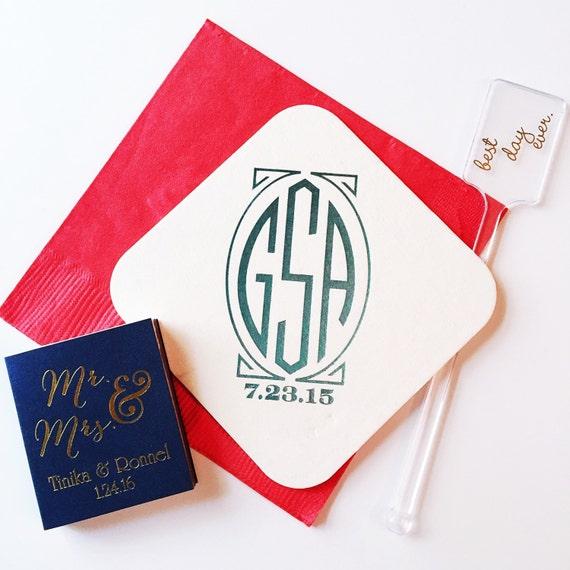 Wedding reception coasters, personalized party coasters, custom coasters