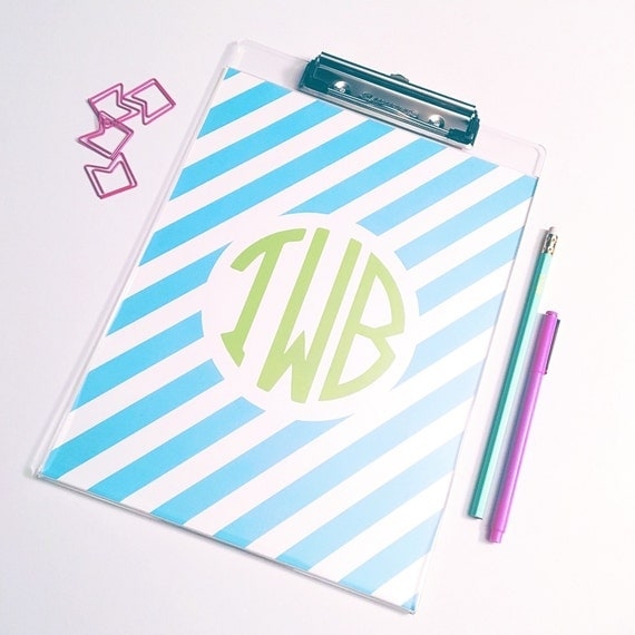 Monogram clipboard, personalized clipboard, striped clipboard, circle monogram clipboard