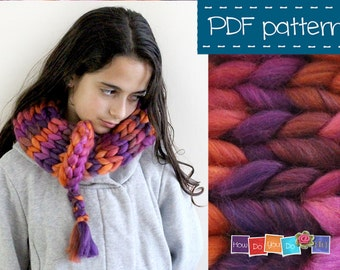 Chunky Yarn Knitting Pattern , Infinity Scarf , Cowl Pattern , Easy Knitting , Instant Download PDF , Beginner Knitting Pattern , Bulky Yarn