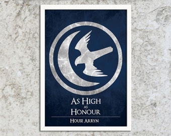 SALE A3 Print - House Arryn - Game of Thrones Art Print Poster - Wall Decor, Inspirational Print, Home Decor, Gift,