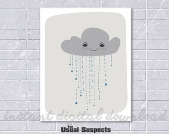 Rain Cloud Art Digital Download, Nursery Print, Cute Weather, Kawaii Cloud, Wall Art, Wall Decoration, Adorable Cloud, Sweet Little Cloud