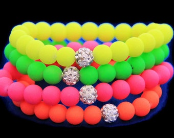 Neon Bracelet,  fluorescence Color, Beads Disco Shamballa Ball stand