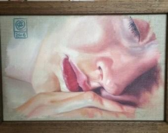 Reve, 2016. Original oil painting on stretched Belgian linen by Mel Evans. 31cm x 23cm.
