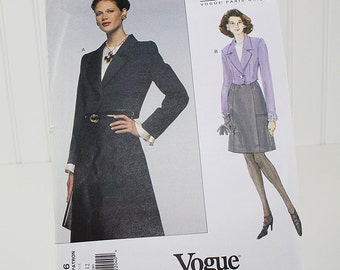 Vogue Jacket and Skirt Pattern, UNCUT Sewing Pattern, V1616, Size 8-10-12