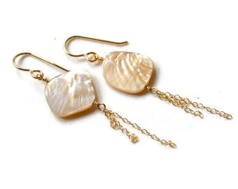 Pearl Earrings Gold, Dangling Pearl Earrings, Pearl Chain Earrings, Freshwater Pearl Earrings