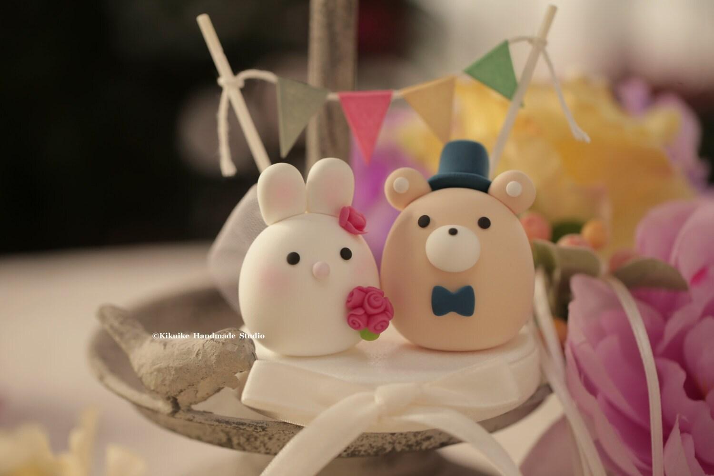 Bunny Rabbit And Bear Wedding Cake Topper