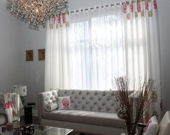 "Custom Drapes ""Foster-Gypsy"", Grommet Panel, Geometric coloured drapes, Drapery Panels, Made-to-Order"