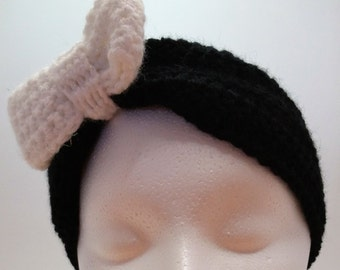 Crocheted Two-Toned Bow Headwrap-White and Black