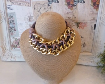 Purple /pink and gold Twist Statement Necklace
