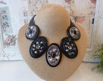 Funky Statement Necklace with Black and Grey