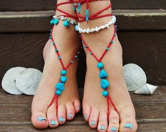 Red and turquoise beaded beach wedding barefoot sandals soleless sandals footless sandals gypsy