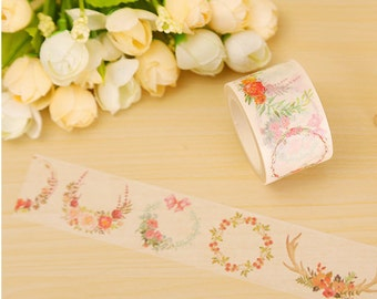 8m Pastel Floral Wreath Washi Tape