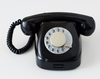 Vintage rotary phone - Black rotary telephone - Retro phone - Old telephone - Tesla