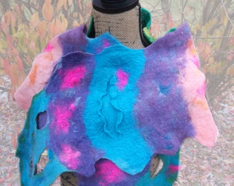 Wet Felted Scarf  Blue Tenderness;17in.x 60in. ;OOAK; Gift for Her; Eco-Fashion; Birthday Gift