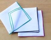 "White Linen Pocket Square, Linen Handkerchiefs, Edged Pocket Squares, Wedding Apparel, Men's Handkerchief, Custom Pocket Square  (one) 12"""