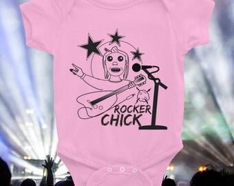 ROCKER CHICK   Infant Baby Rib Short Sleeve One-Piece