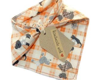 Dog Bandana - small orange check doggy bandana