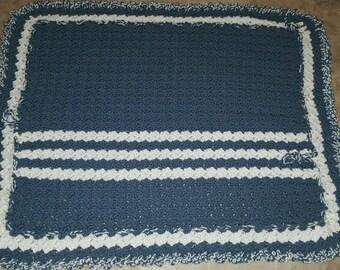 Blue/White Vintage Large Afghan Throw Blanket
