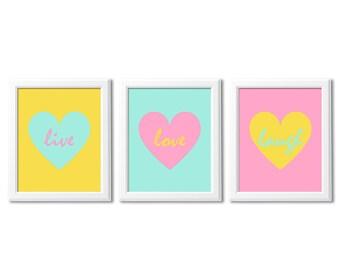 Pink, aqua and yellow heart wall art print set -UNFRAMED- teen girl wall art, teenage girl room decor, live, love, laugh, hearts
