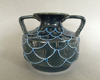 Fratelli Fanciullacci  vase, relief motiv  , vintage Mid Century Modern Italian   vase  from the 1970s.