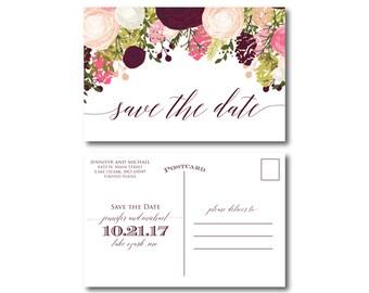 Vintage Wedding Save the Date - Fall Wedding - Vintage Floral - Floral Wedding - Vintage Wedding - Save the Date - Wedding Postcards