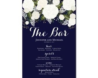 Printable Bar Menu Sign - Wedding Printable Bar Menu Sign - Wedding Bar Menu Poster - Wedding Sign - Wedding Bar Menu - Drink Menu #CL136