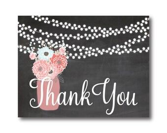 Rustic Thank You Card, Wedding Thank You Card, Folded Thank You Card, Rustic Wedding, Mason Jar Wedding Thank You, Thank You Note #CL220