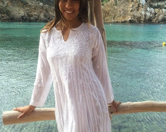 Kundalini yoga white long cotton dress with  hand embroidery