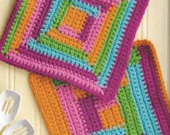 RAINBOW LOG CABIN dishcloths for 2