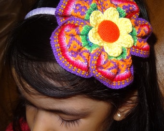 Peruvian Headband. Hair clip, Aligator clip, Elastic Headband,Plastic Headband.  For babies and girls.
