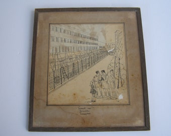 "VERY VERY RARE - ""Search me"" Jerusalem Summer 1946 Drawing"