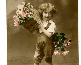 1913 Lovely Little Boy & Flowers Hand Tinted Postcard Edwardian Victorian Antique Vintage Photo