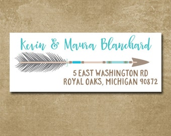 Personalized Address Labels, Custom Return Labels, Mailing Stickers, Tribal Arrow Stickers, Arrow Address Labels